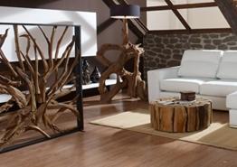 Design Raumteiler Teak-Holz MAZE | Hochwertiger Sichtschutz Holzoptik massiv | Paravent Trennwand für Wohnzimmer Praxis Büro | -