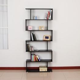homcom 831-037BK Bücherregal, Holz, schwarz, 80 x 25 x 192 cm -