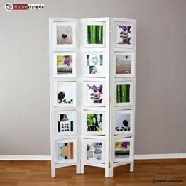 Homestyle4u 3 fach Paravent Raumteiler Holz Trennwand in weiß whitewash Foto Fotowand -