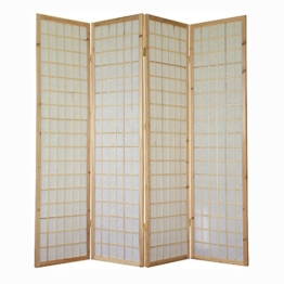 Homestyle4u 4 fach Paravent Raumteiler - Holz Trennwand Shoji in natur Reispapier weiß -