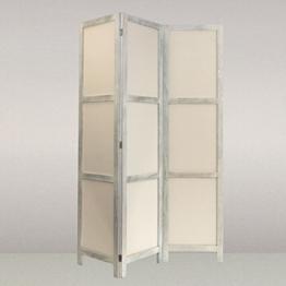NEG Paravent Rigel (shabby chic weiß) Raumteiler/Sichtschutz aus Echt-Holz und Baumwolle (spanische Wand) -