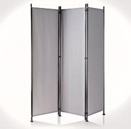 Paravent Raumteiler Trennwand grau 3-teilig - flexibel verstellbar -
