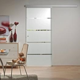 Schiebetür Glas-Schiebetür Zimmertür 880x2035mm Innentür Komplettset mit Laufschiene & Glastür (Blockstreifen satiniert + Griffknopf) -