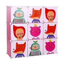 Songmics® Kinderregal Spielzeugkiste Garderobenschrank Wäscheschrank Kleiderschrank Kapazität Regalsystem 450L Pink LPC33P -