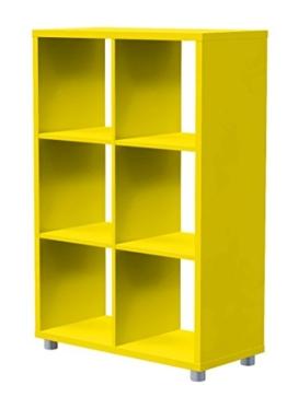Tenzo 1826-002 Box Designer Raumteiler 2x 3, 111 x 73 x 35 cm, Spanplatte lackiert matt, gelb -