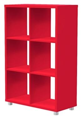 Tenzo 1826-068 Box Designer Raumteiler 2x 3, 111 x 73 x 35 cm, Spanplatte lackiert matt, pastellrot -