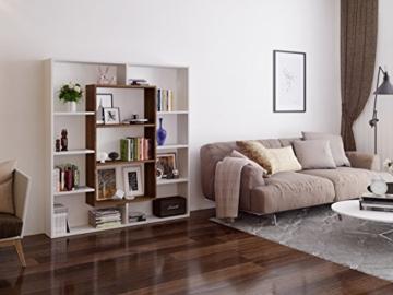 VENUS Bücherregal - Standregal - Büroregal - Raumtieler für Wohnzimmer / Büro in modernem Design (Weiß / Nussbaum) -